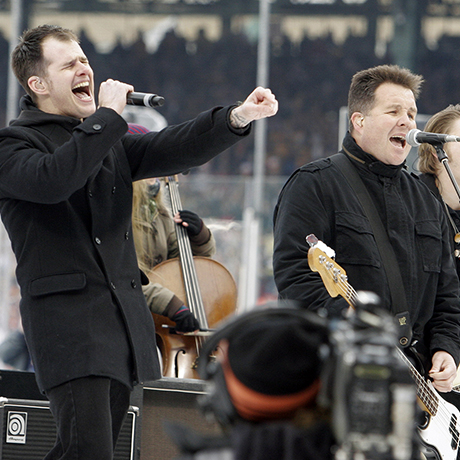 The Dropkick Murphys perform before the New Year's Day Winter Classic NHL hockey game between the Philadelphia Flyers and Boston Bruins at Fenway Park in Boston, Friday, Jan. 1, 2010. (AP Photo/Bill Sikes)