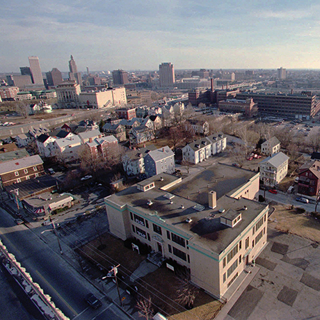 To the right of the Providence skyline, past the highway is a possible site for a new stadium for the New England Patriots shown Tuesday, Feb. 18, 1997, in Providence, R.I. Providence Mayor Vincent Cianci has proposed the move of the Patriots from Foxboro, Mass., to Providence. (AP Photo/Matt York)