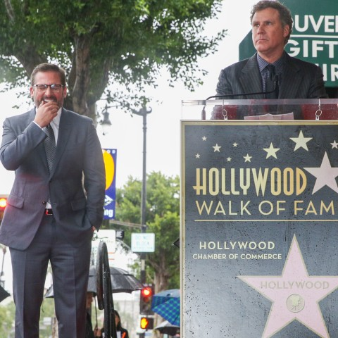Will Ferrell, right, speaks at a ceremony honoring Steve Carell with a star on the Hollywood Walk of Fame on Wednesday, Jan. 6, 2016, in Los Angeles. (Photo by Rich Fury/Invision/AP)
