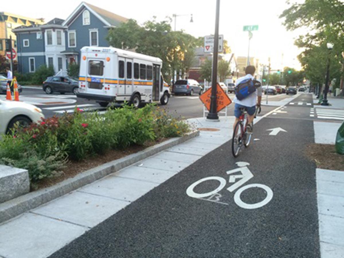 The New Western Avenue bike lane in Cambridge. Courtesy of City of Cambridge