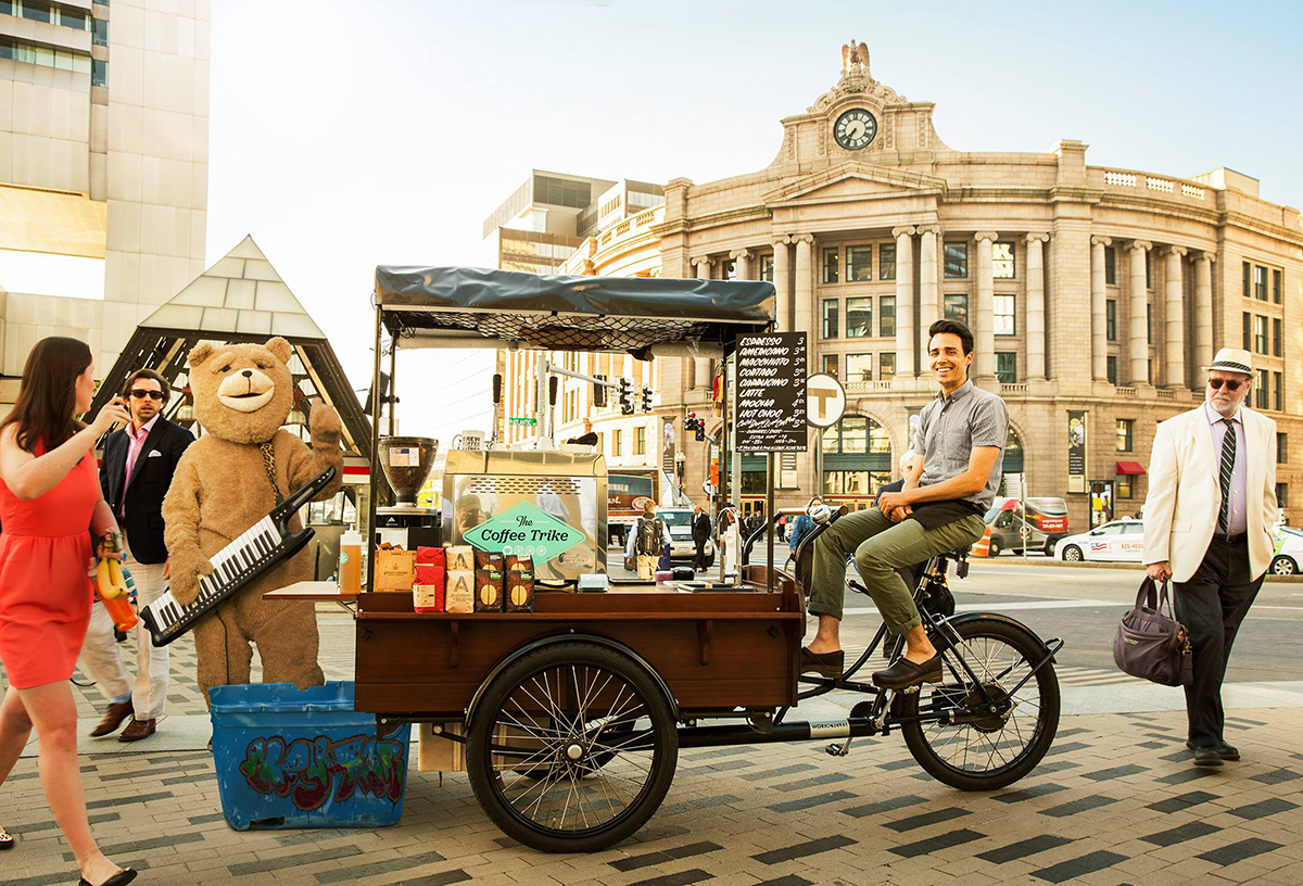 San Bellino and the Coffee Trike in Dewey Square. / Photo by Brian Doben
