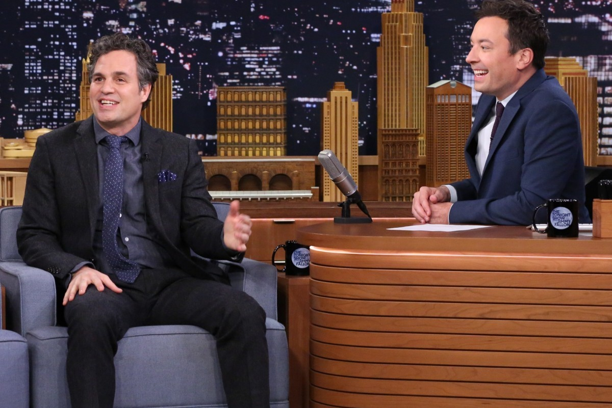 THE TONIGHT SHOW STARRING JIMMY FALLON -- Episode 0395 -- Pictured: (l-r) Actor Mark Ruffalo during an interview with host Jimmy Fallon on January 7, 2015 -- (Photo by: Douglas Gorenstein/NBC)