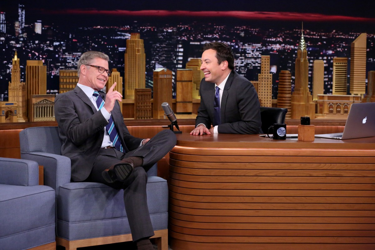 THE TONIGHT SHOW STARRING JIMMY FALLON -- Episode 0407 -- Pictured: (l-r) Sportscaster Dan Patrick during an interview with host Jimmy Fallon on January 25, 2016 -- (Photo by: Andrew Lipovsky/NBC)
