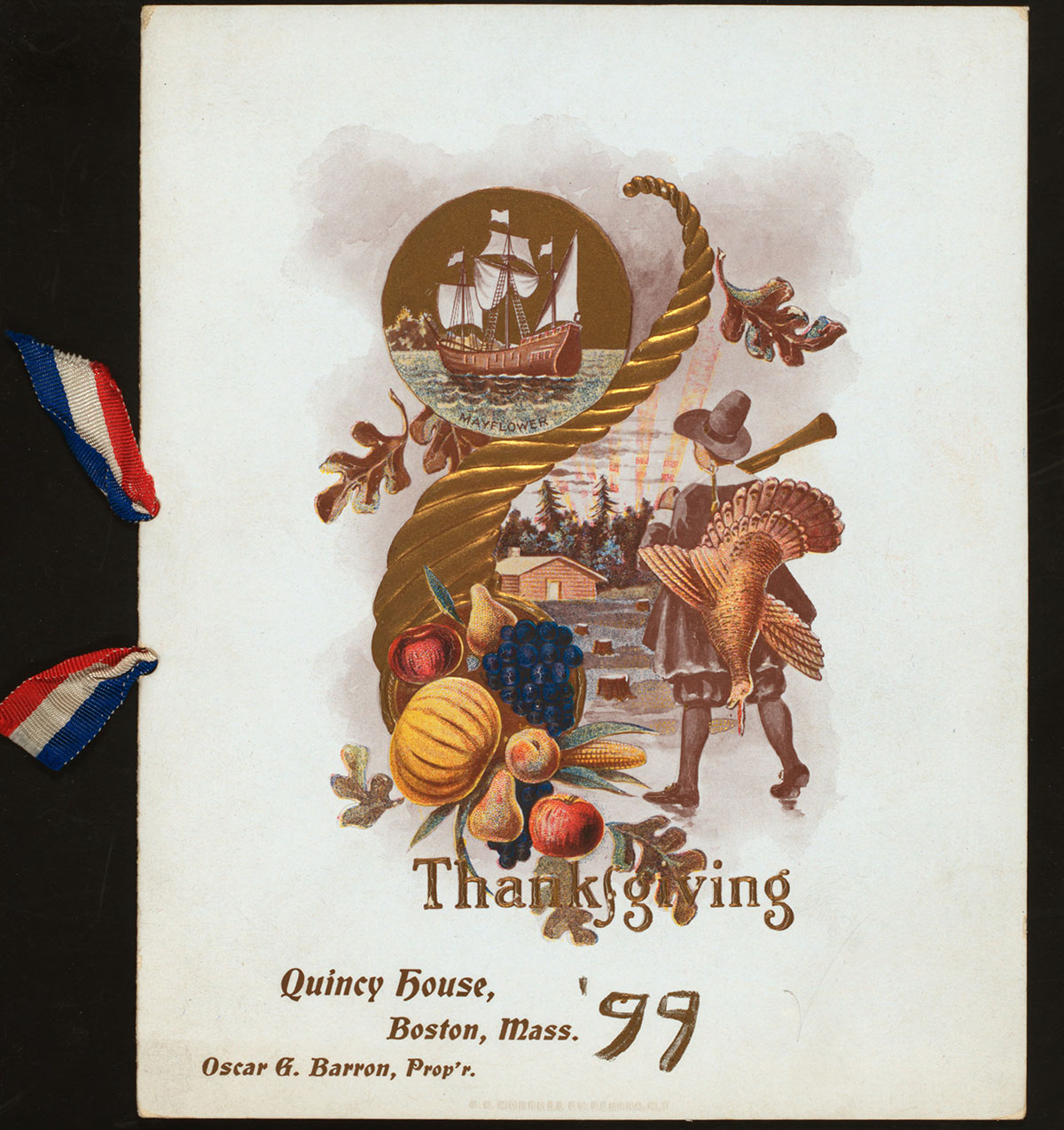 The cover of the Thanksgiving menu at Quincy House from 1899. / Image via the New York Public Library