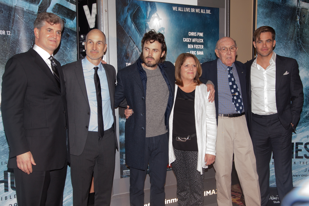 From left: Producer Jim Whitaker, director Craig Gillespie, Casey Affleck, producer Dorothy Aufiero, Mel Gouthro, and Chris Pine. Photo by Sarah Fisher