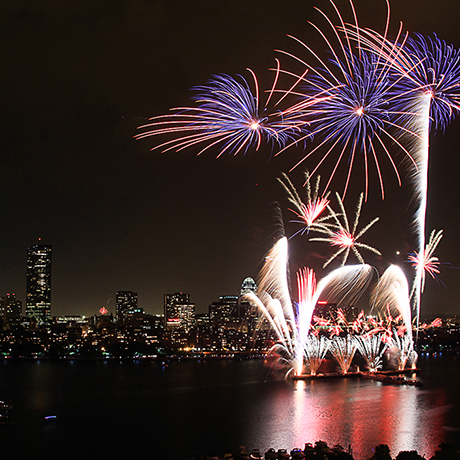 Boston skyline fireworks sq