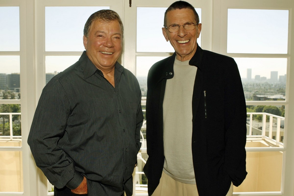 """Leonard Nimoy, right, and William Shatner pose Wednesday, Aug. 9, 2006, in Los Angeles. TV Land will celebrate the legendary science-fiction series """"Star Trek,"""" with a 40th anniversary salute Friday, Sept. 8, the very date on which the series first premiered in 1966. This futuristic series, which aired from 1966 to 1969, followed the adventures of the USS Enterprise commanded by James T. Kirk, played by Shatner, and his first officer and best friend Mr. Spock, played by Nimoy. (AP Photo/Ric Francis)"""