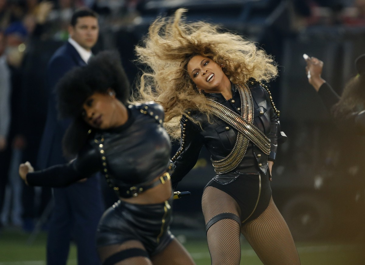Beyonce performing at the Super Bowl 50 halftime show.