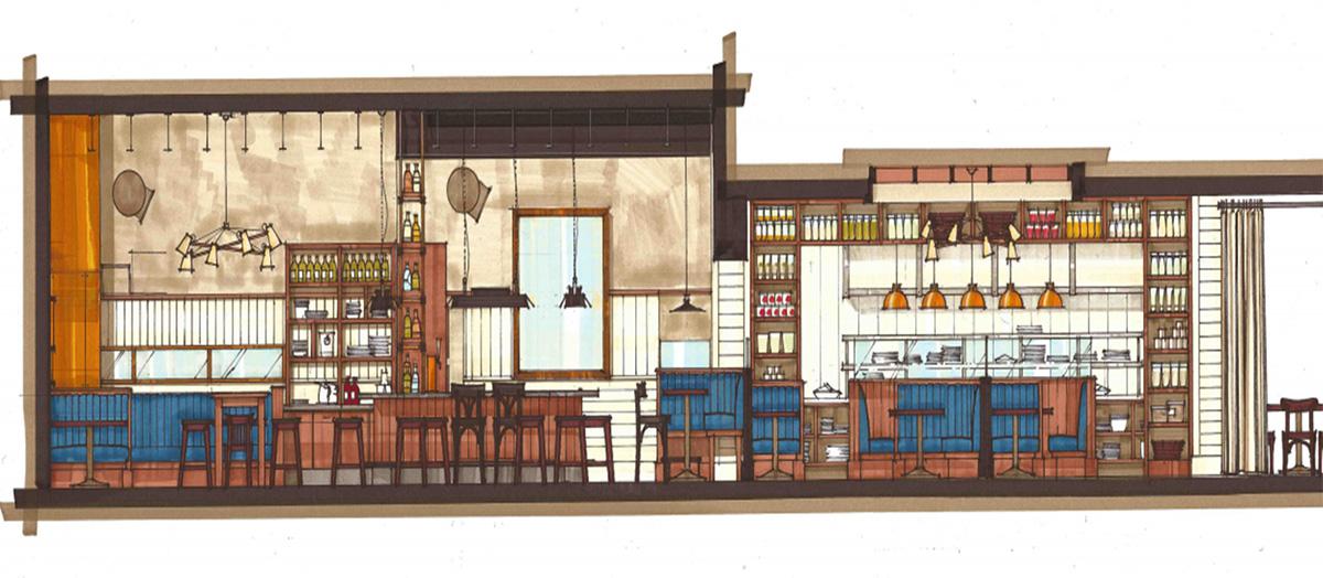 Blackmoor Bar + Kitchen rendering.