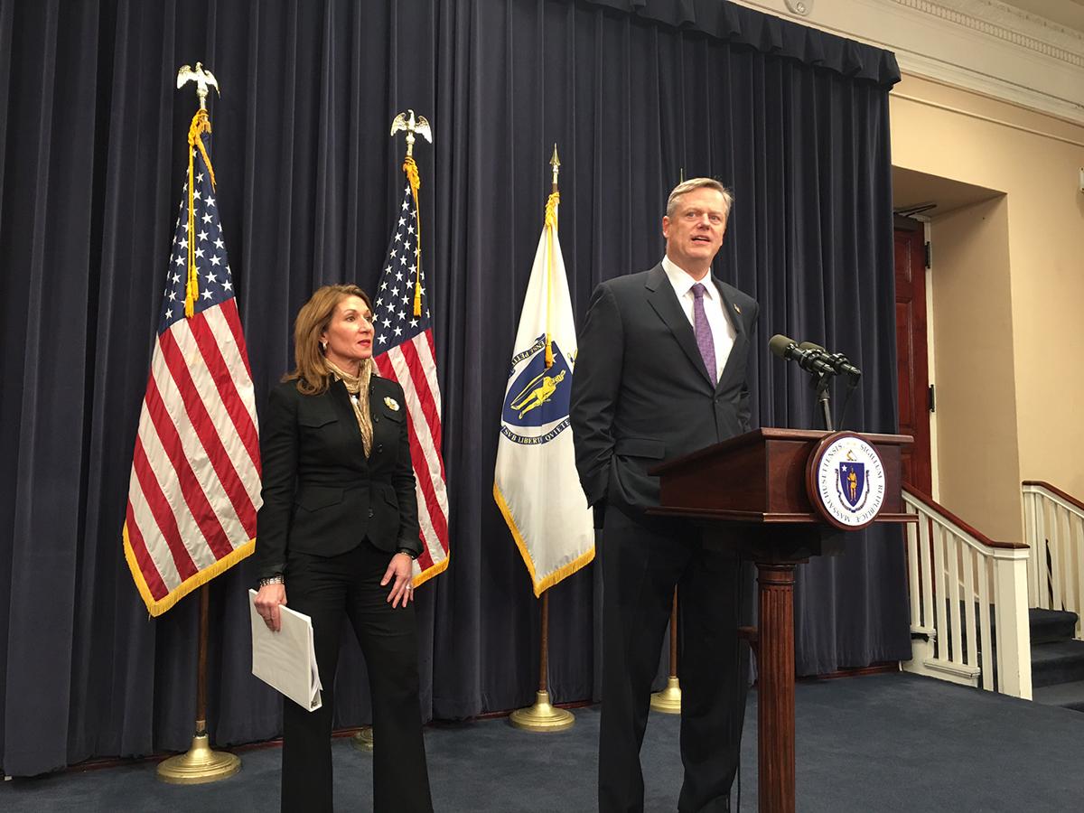 Gov. Charlie Baker and Lt. Gov. Karyn Polito. Photo by Garrett Quinn