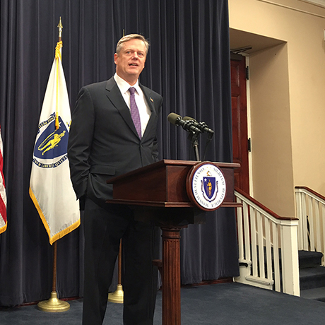 Gov. Charlie Baker and Lt. Gov. Karyn Polito. Photo by Garrett Quinn