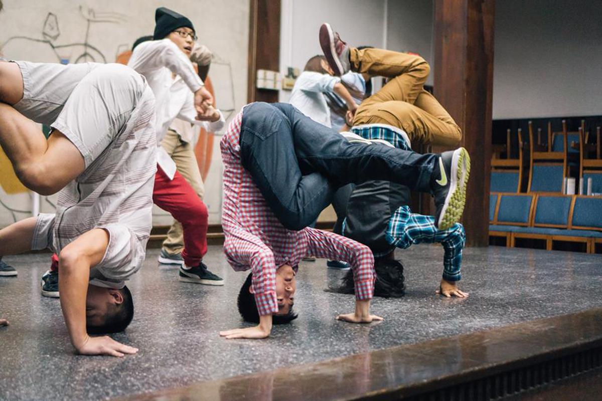 The Harvard Breakers dance on stage
