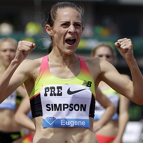 Jenny Simpson celebrates after winning the 1,500-meter race during the Prefontaine Classic track and field meet in Eugene, Ore., Saturday, May 30, 2015. (AP Photo/Don Ryan)