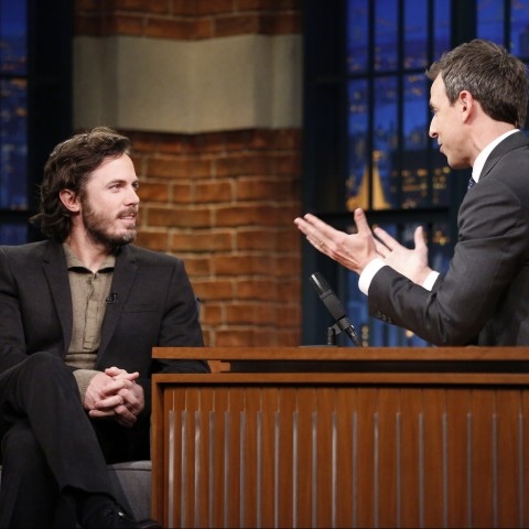 LATE NIGHT WITH SETH MEYERS -- Episode 333 -- Pictured: (l-r) Actor Casey Affleck during an interview with host Seth Meyers on February 24, 2016 -- (Photo by: Lloyd Bishop/NBC)