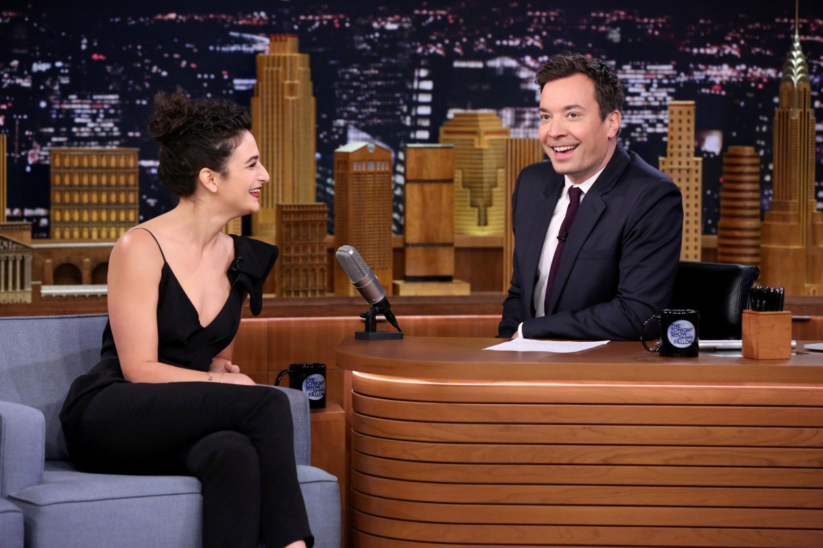 THE TONIGHT SHOW STARRING JIMMY FALLON -- Episode 0425 -- Pictured: (l-r) Actress Jenny Slate during an interview with host Jimmy Fallon on February 25, 2016 -- (Photo by: Andrew Lipovsky/NBC)