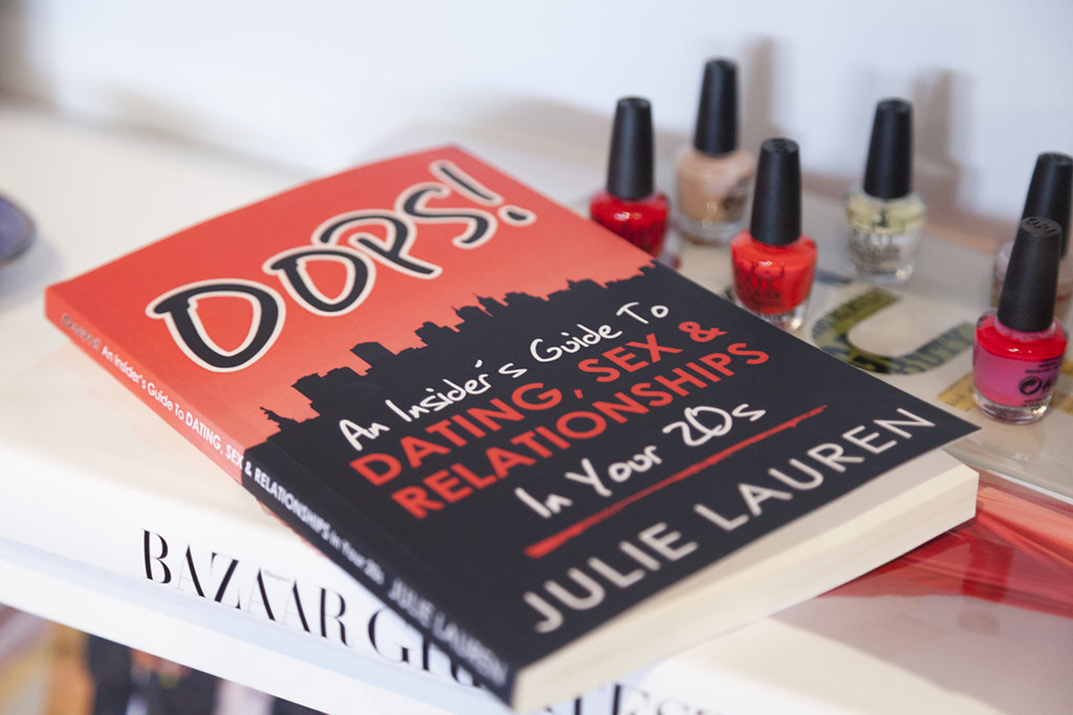 Julie Lauren's book sits on a table