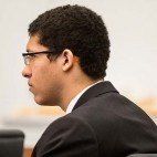 Phillip Chism listens to testimony during his trial at Essex Superior Court in Salem, Mass., Monday, Dec. 7, 2015. A psychiatrist testifying at the trial of the Massachusetts teenager charged with killing his math teacher said the teen suffered from psychosis. Chism is charged with rape and murder in the October 2013 slaying of 24-year-old Danvers High School teacher Colleen Ritzer. (Aram Boghosian/The Boston Globe via AP, Pool) MANDATORY CREDIT