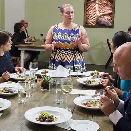 "TOP CHEF -- ""Restaurant Wars Part 2"" Episode 1310 -- Pictured: (l-r) Bill Chait, Gail Simmons, Karen Akunowicz, Padma Lakshmi, Tom Colicchio-- (Photo by: Dale Berman/Bravo)"
