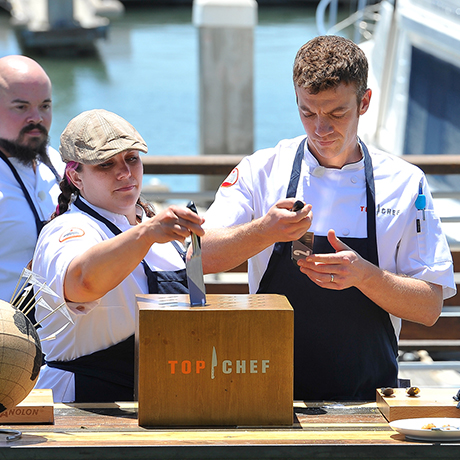 """TOP CHEF -- """"Hammer Time"""" Episode 1311 -- Pictured:  (l-r) -- (Photo by: Steve Jennings/Bravo)"""