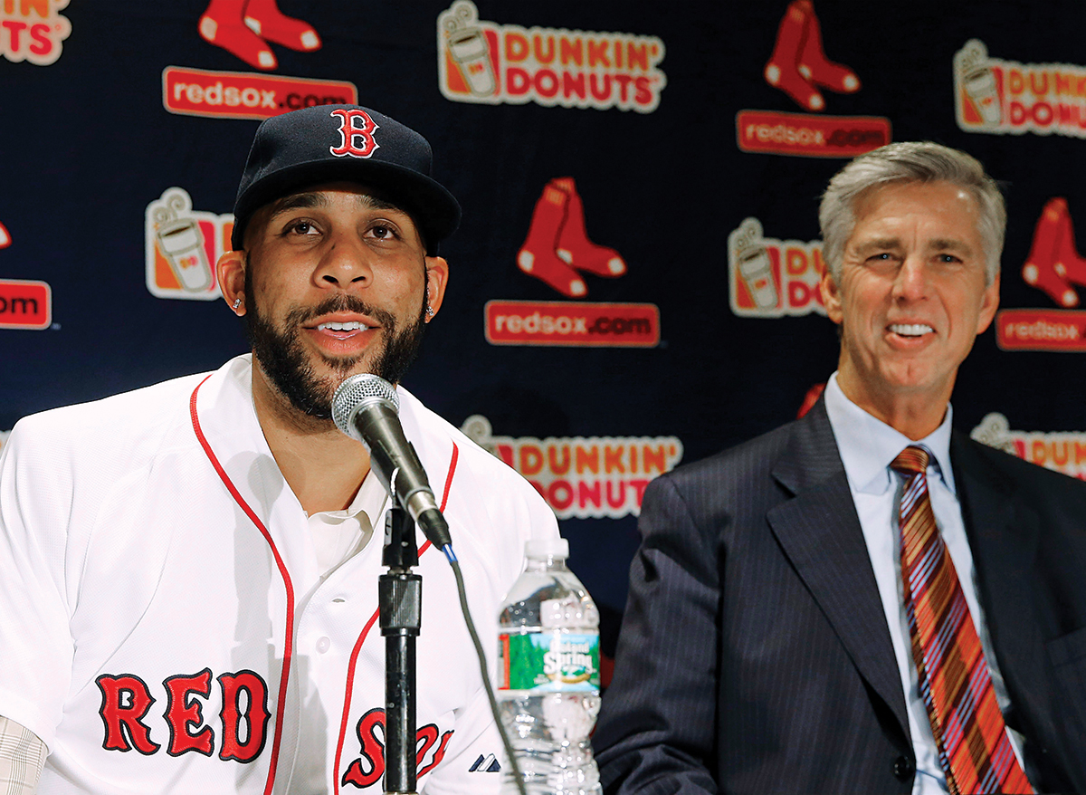 Boston Red Sox pitcher David Price speaks at a press conference announcing his signing by the Boston Red Sox as President of Baseball Operations Dave Dombrowski looks on at Fenway Park in Boston Friday, Dec. 4, 2015. (AP Photo/Winslow Townson)