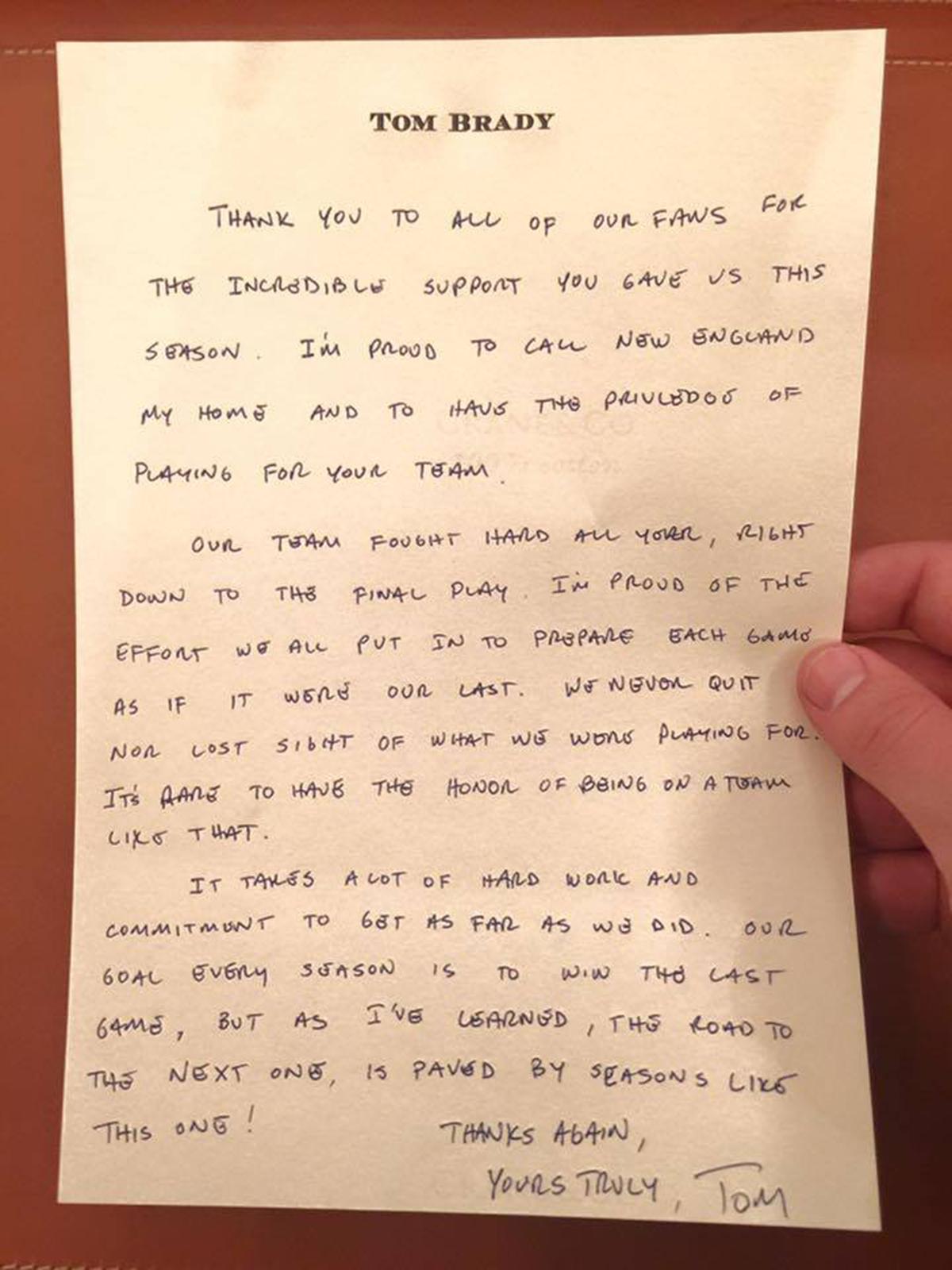 tom brady thank you note
