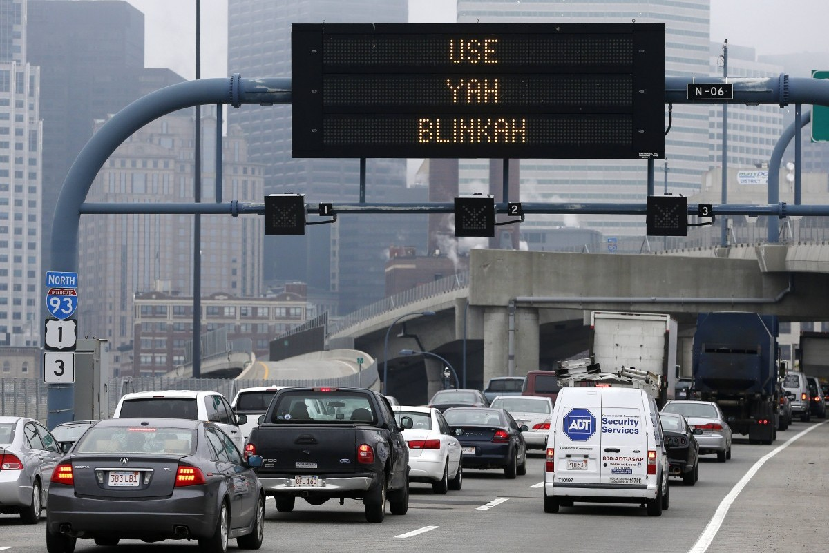 "An electronic highway sign is seen on Interstate 93 in Boston, Friday, May 9, 2014. The Massachusetts Department of Transportation posted the message ""Changing Lanes? Use Yah Blinkah"" on the signs around the city. ""Blinkah"" is how Bostonians pronounce ""blinker"". (AP Photo/Michael Dwyer)"