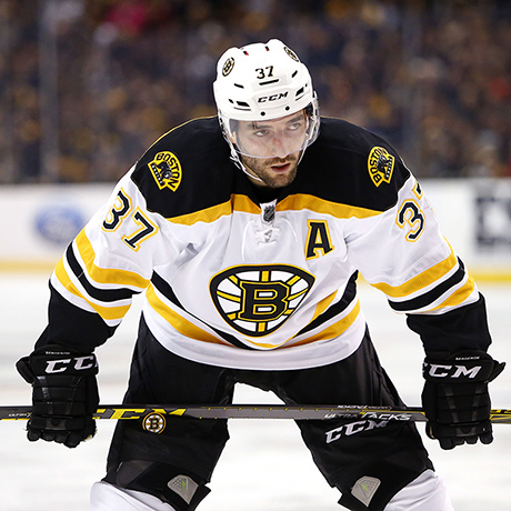 Boston Bruins' Patrice Bergeron during the third period of the Los Angeles Kings 9-2 win over the Boston Bruins in an NHL hockey game in Boston Tuesday, Feb. 9, 2016. (AP Photo/Winslow Townson)