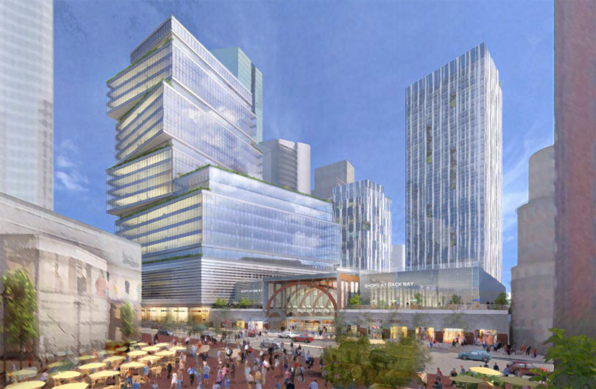 Proposed redevelopment of Back Bay Station. Rendering by Boston Properties