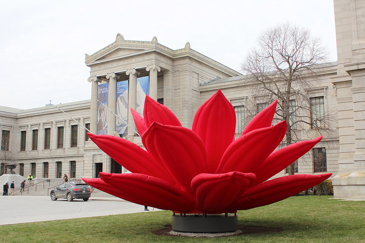 Breathing Flower Sculpture Installed In Front Of The Mfa