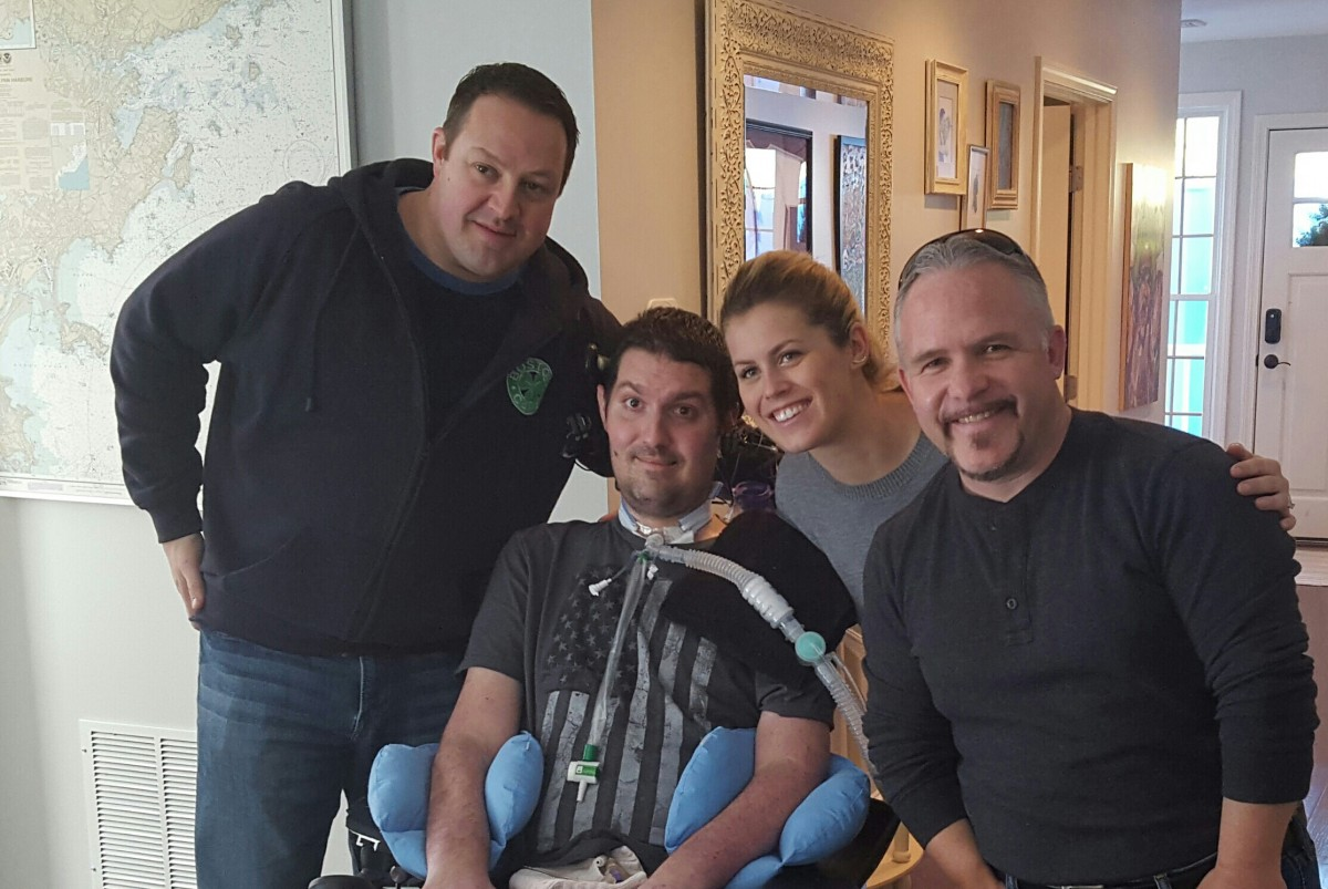 Author Dave Wege, Peter Frates, Julie Frates, and author Casey Sherman Photo Provided