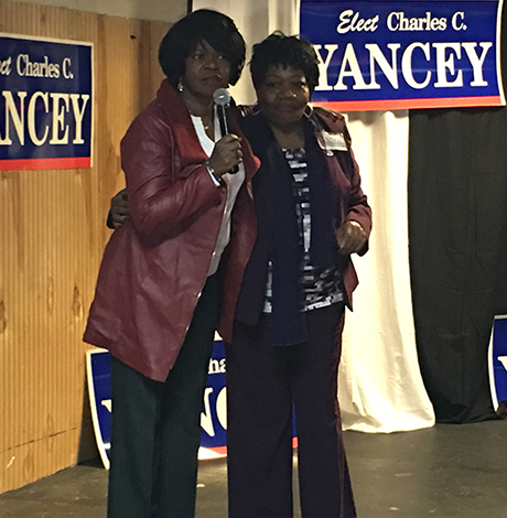 Rep. Gloria Fox (right) stands with formerr Sen. Dianne Wilkerson  at campaign event for Charles Yancey. Photo by Garrett Quinn