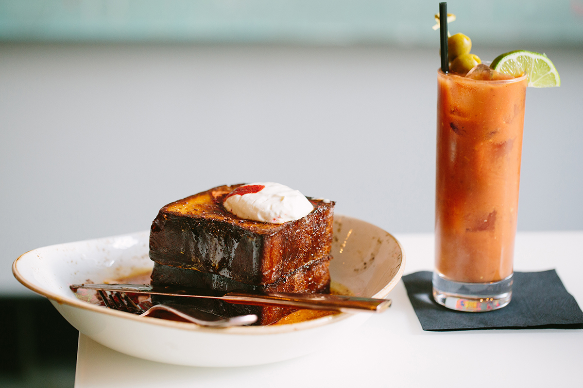 Brioche French toast and a Bloody Mary at Liquid Art House