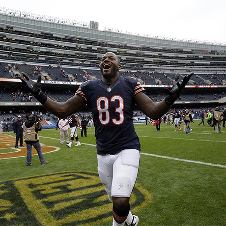 Chicago Bears tight end Martellus Bennett (83) celebrates after an NFL football game against the Oakland Raiders, Sunday, Oct. 4, 2015, in Chicago. The Bears won 22-20. (AP Photo/Nam Y. Huh)