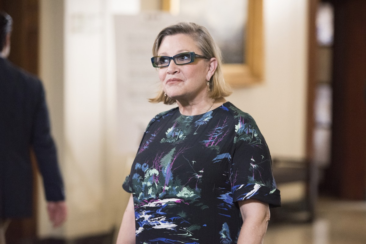 """GIRLFRIENDS' GUIDE TO DIVORCE -- """"Rule #25: Beware of the Second Chance"""" Episode 206 -- Pictured: Carrie Fisher as Cat -- (Photo by: Dean Buscher/Bravo)"""