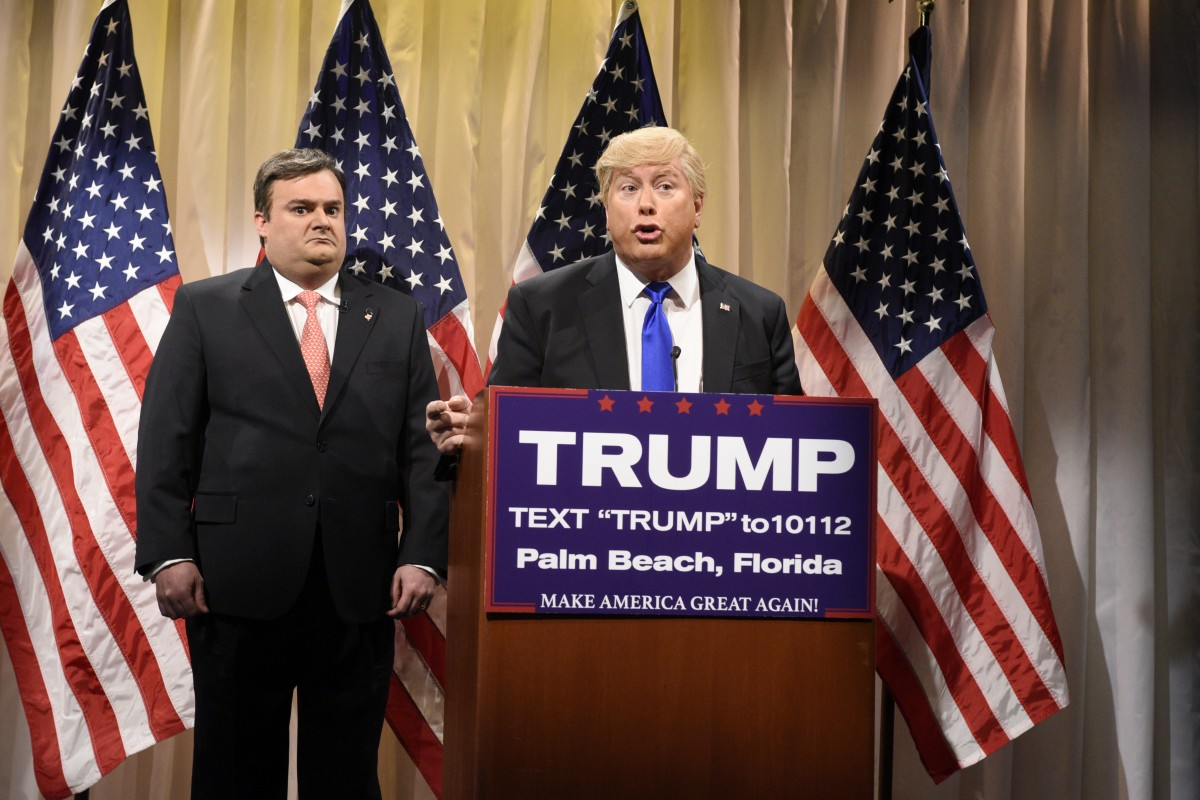 """SATURDAY NIGHT LIVE -- """"Jonah Hill"""" Episode 1697 -- Pictured: (l-r) Bobby Moynihan as Governor Chris Christie and Darrell Hammond as Donald Trump during the """"CNN Election Center Cold Open"""" sketch on March 5, 2016 -- (Photo by: Dana Edelson/NBC)"""