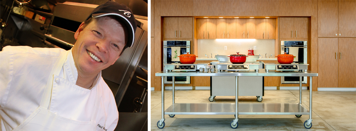 Chef Paul Wahlberg photo by Nicoletta Amato Photography; the Kitchen at Boston Public Market photo by Mike Diskin.