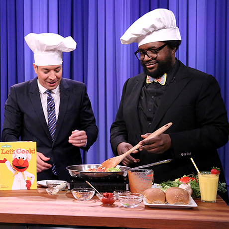 "THE TONIGHT SHOW STARRING JIMMY FALLON -- Episode 0283 -- Pictured: (l-r) Actor Jason Schwartzman, host Jimmy Fallon, Elmo and Ahmir ""Questlove"" Thompson during a cooking demonstration on June 18, 2015 -- (Photo by: Douglas Gorenstein/NBC)"