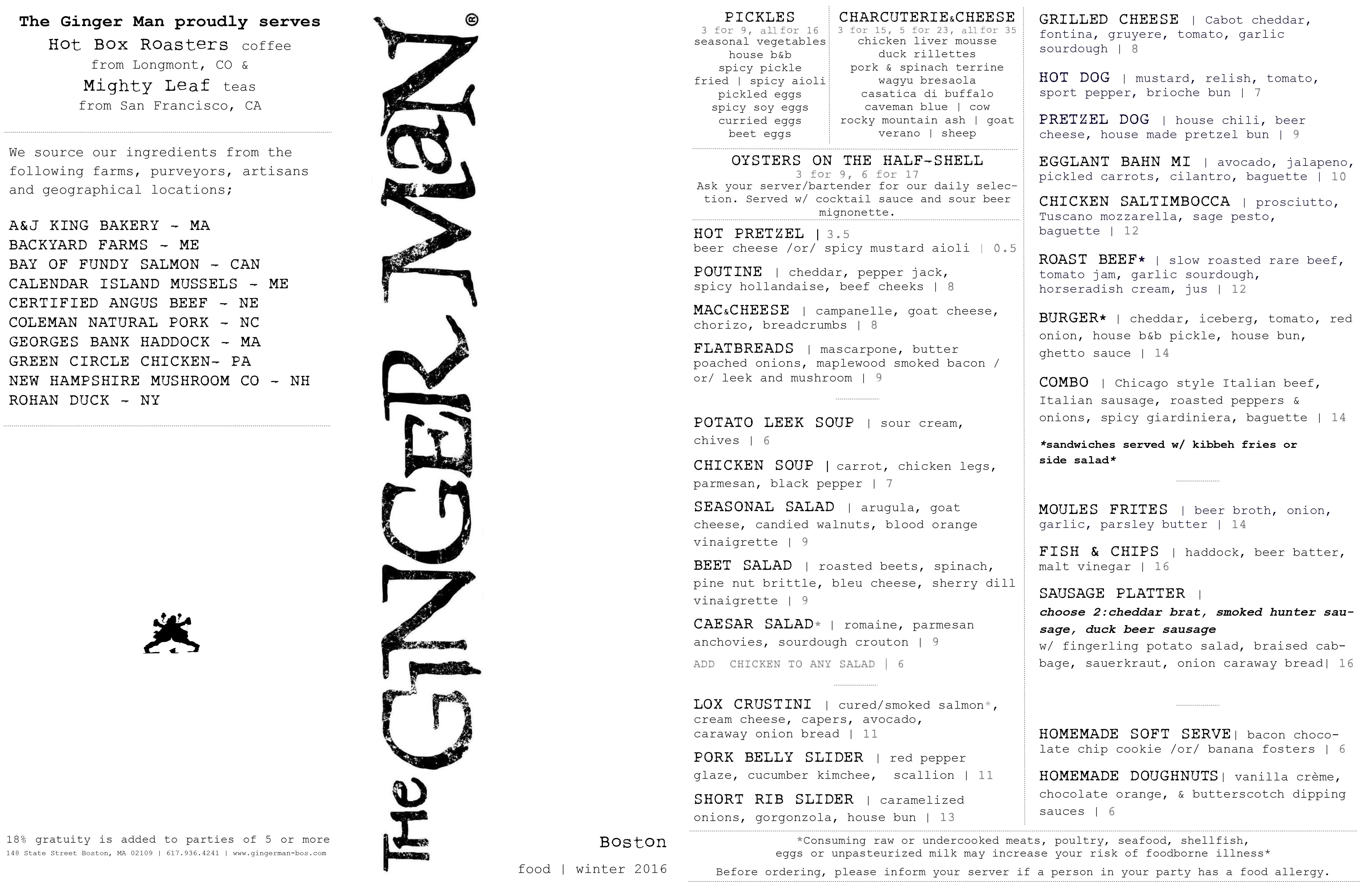 The Ginger Man Boston menu