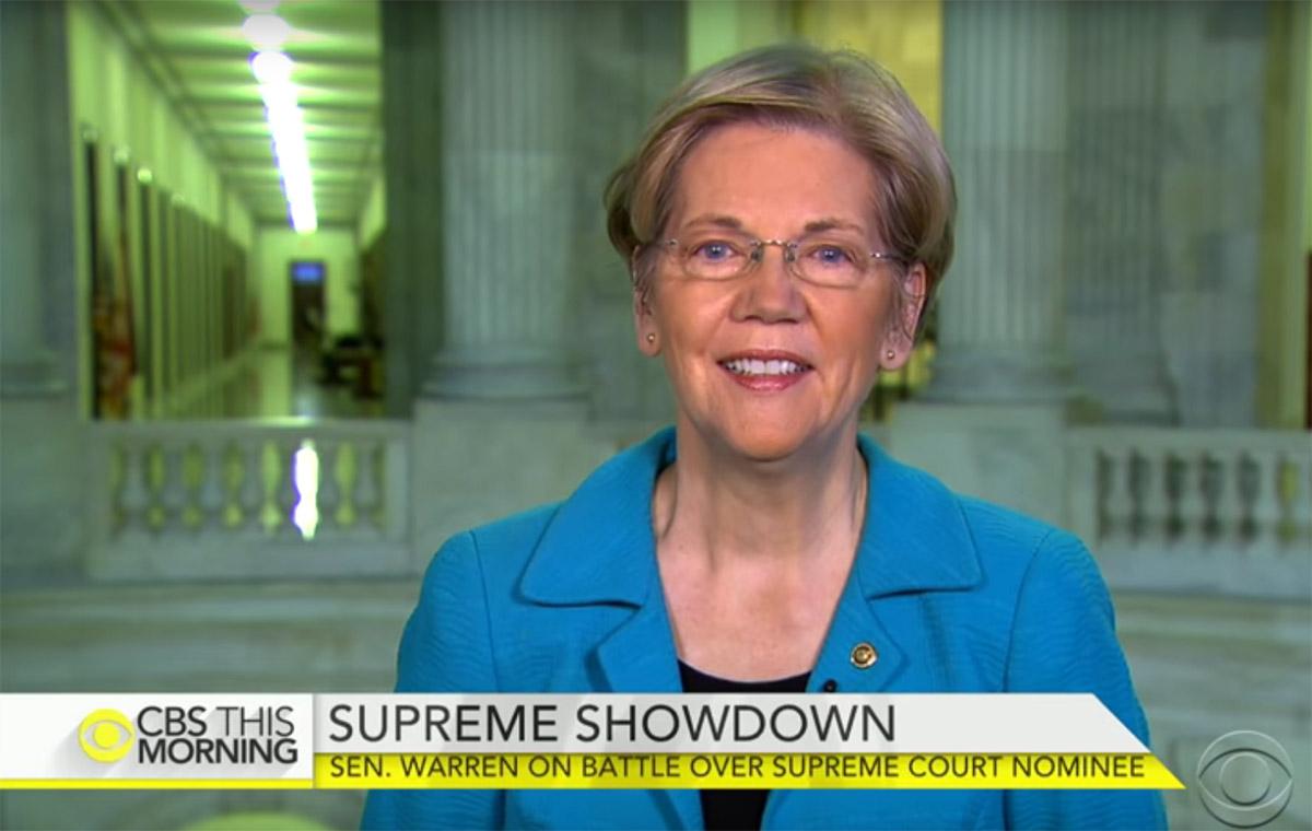 Screencap of Elizabeth Warren on CBS This Morning