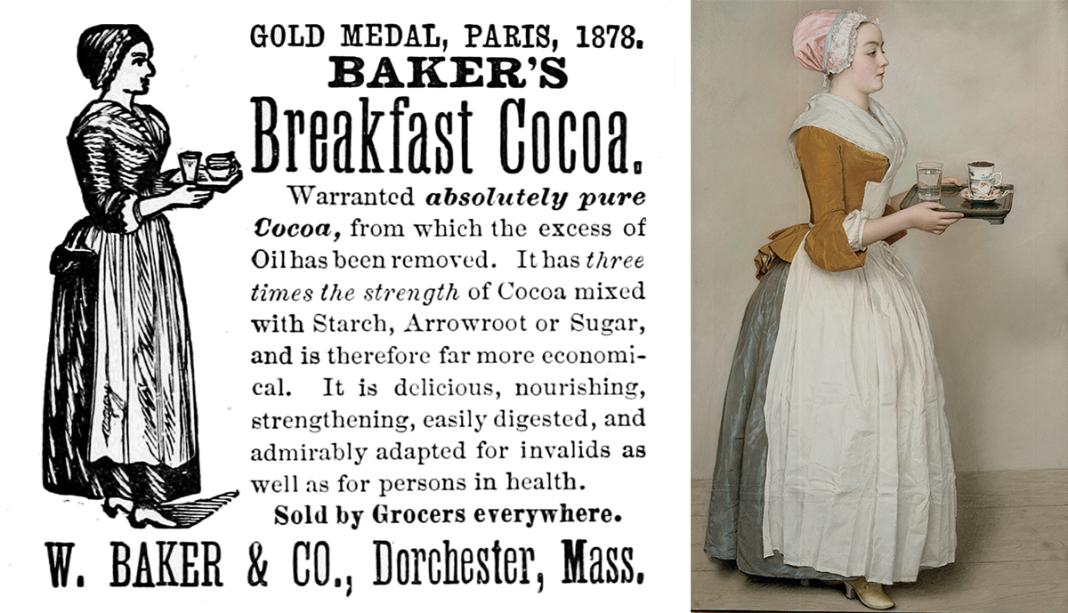 Baker Chocolate ad and 'The Chocolate Girl' painting via Wikimedia/Creative Commons