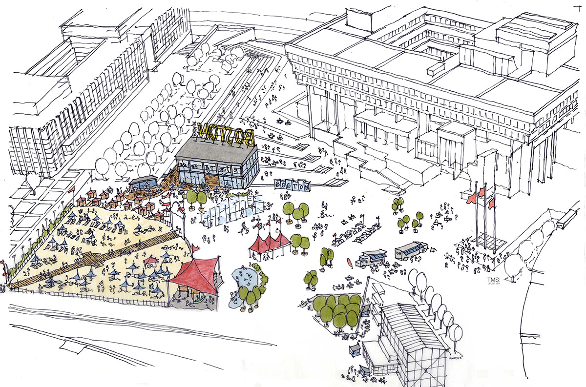 The proposal for City Hall Plaza in the summer. / Photo provided by Delaware North Cos.