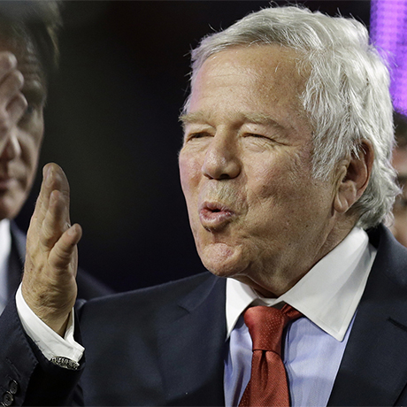 New England Patriots owner Robert Kraft celebrates after the NFL Super Bowl XLIX football game against the Seattle Seahawks Sunday, Feb. 1, 2015, in Glendale, Ariz. The Patriots won 28-24. (AP Photo/Ben Margot)