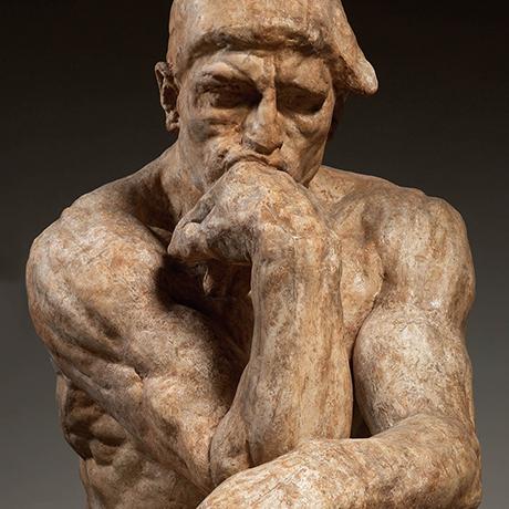 Auguste Rodin. The Thinker, large-sized model (detail), 1903. Patinated plaster. Musée Rodin, Paris, S.161. © Musée Rodin, Paris. Photo by Christian Baraja.