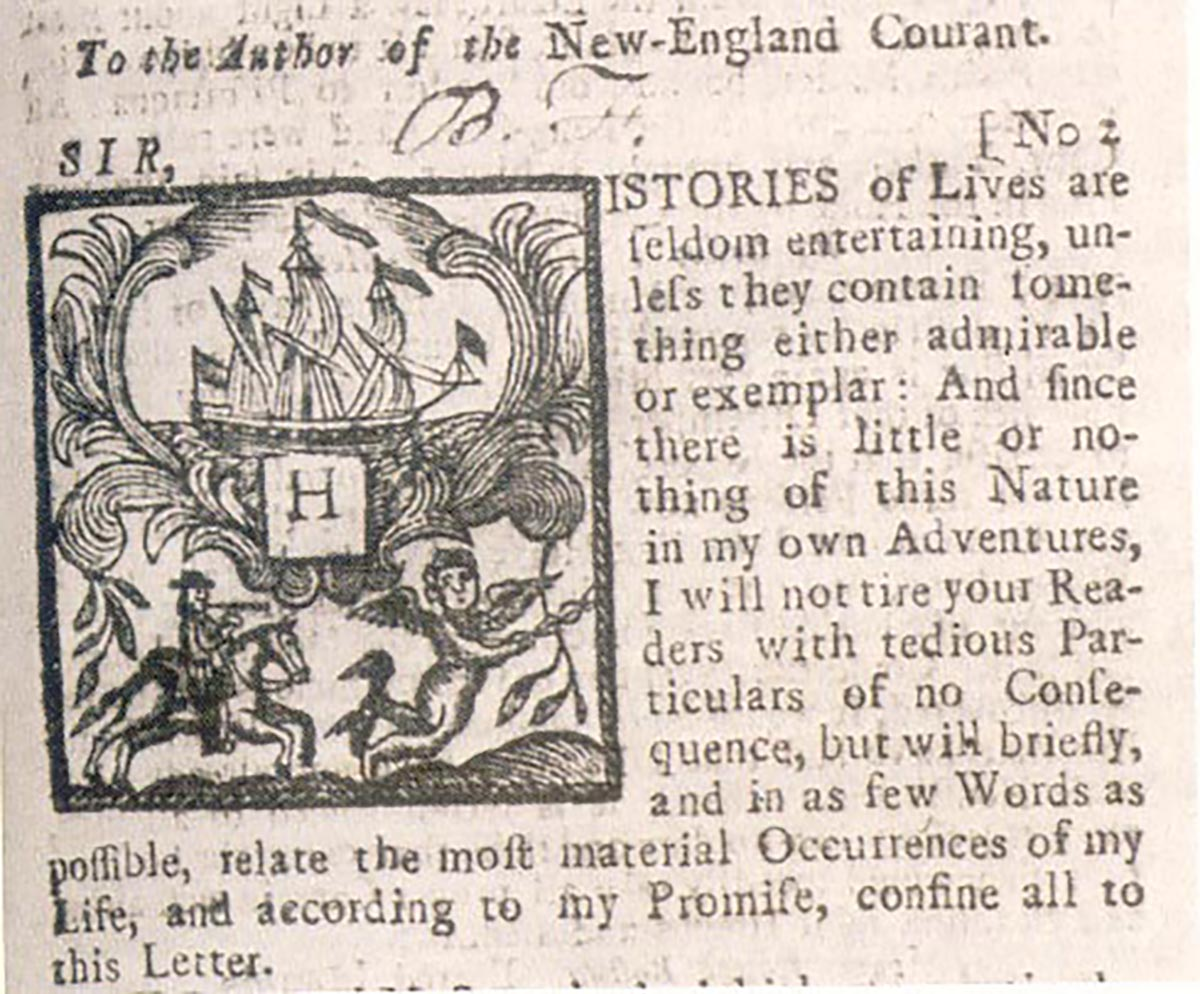 New England Courant clipping via Wikimedia/Creative Commons