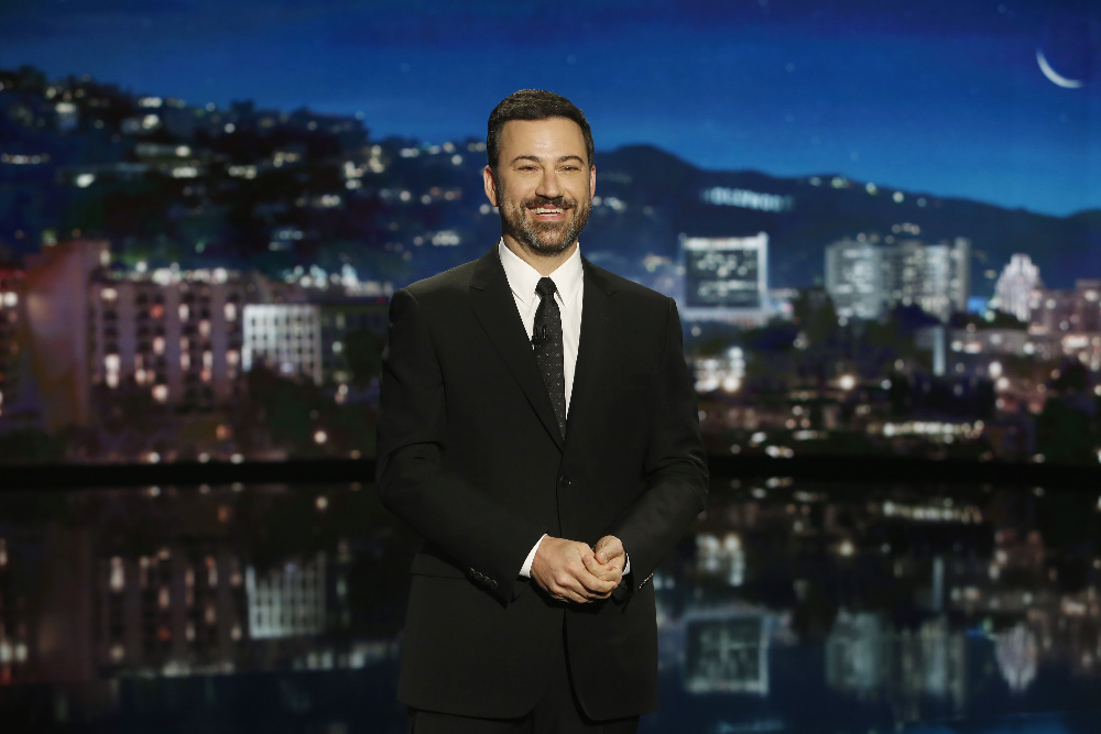 """JIMMY KIMMEL LIVE - """"Jimmy Kimmel Live"""" airs every weeknight at 11:35 p.m. EST and features a diverse lineup of guests that include celebrities, athletes, musical acts, comedians and human interest subjects, along with comedy bits and a house band. The guests for Wednesday, April 20 included Jessica Chastain (""""The Huntsman: Winter's War""""), Kumail Nanjiani (""""Silicon Valley"""") and musical guest Of Monsters & Men. (ABC/Randy Holmes) JIMMY KIMMEL"""