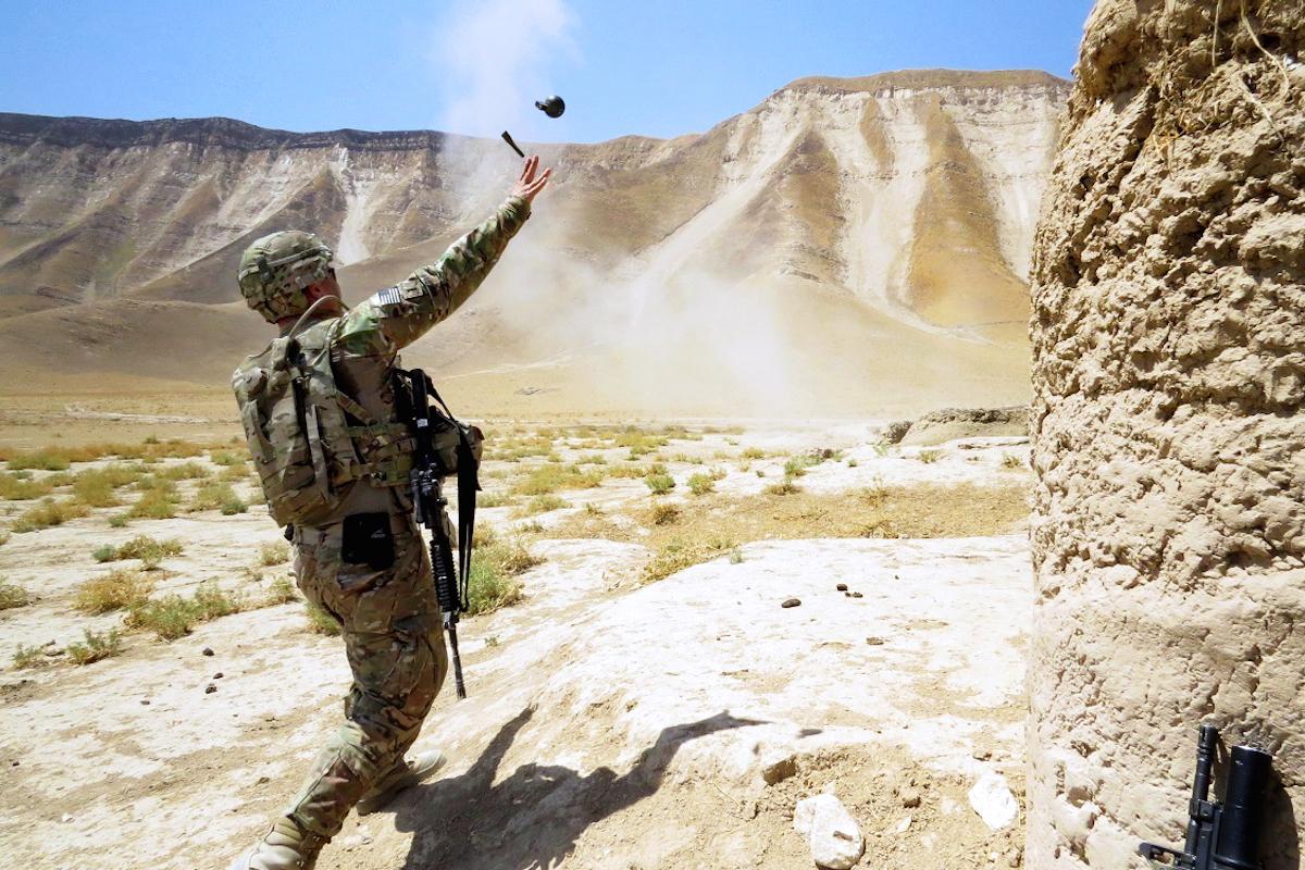 U.S. Army Lt. Charles Morgan throws a M67 fragmentation grenade in Afghanistan. Photo by Sgt. Avila/U.S. Army