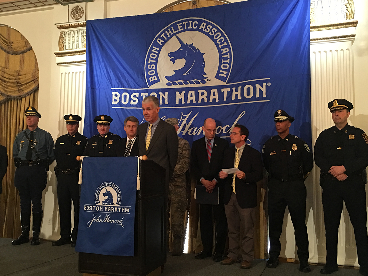 Boston Marathon Executive Director Tom Grilk addresses the media. Photo by Garrett Quinn