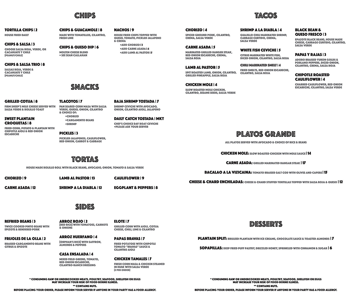 Casa Verde soft opening menu