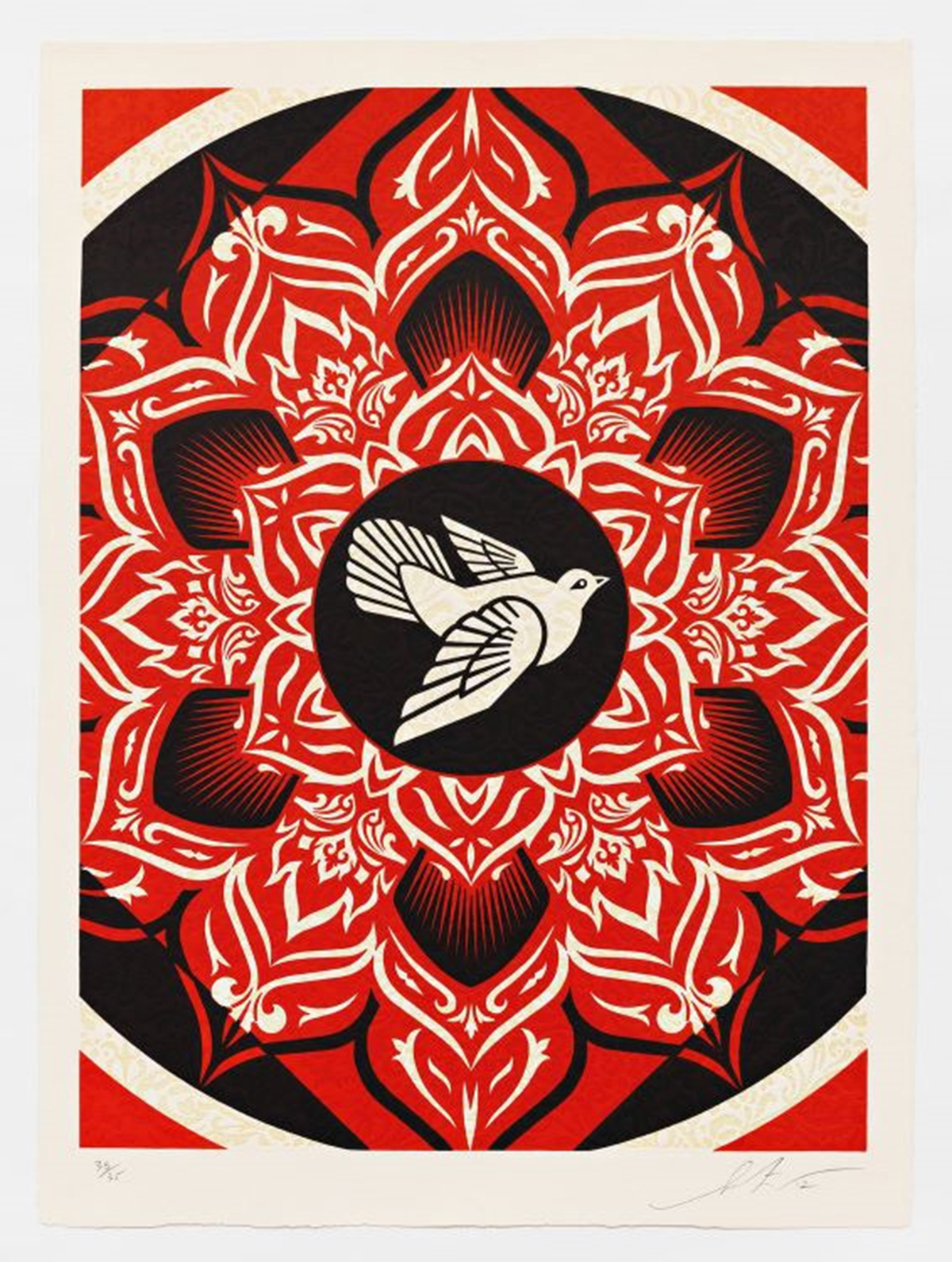 """Shepard Fairey. Lotus Target Black, 2012, 20 of 35. Three-Color Relief Print on Handmade Paper. 35""""x25.5"""". $3,775. / Courtesy of Pace Prints."""