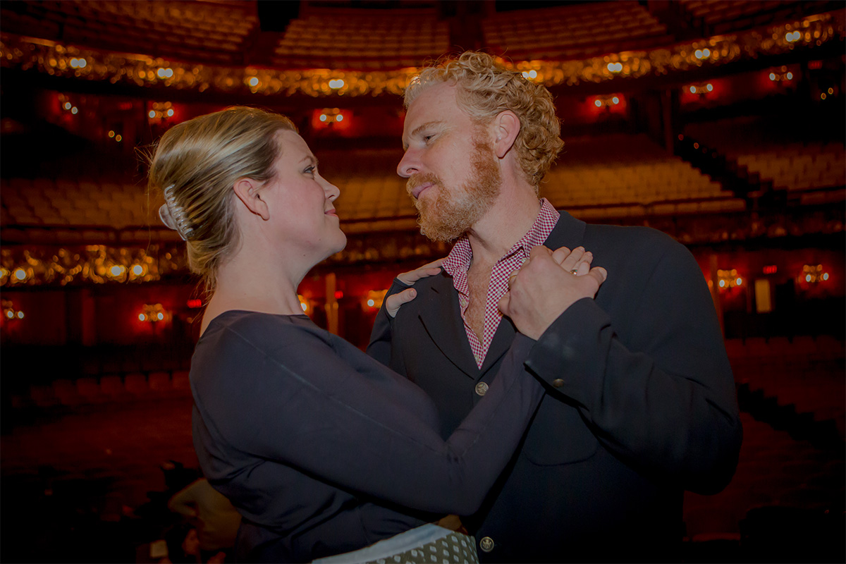 Erin Wall, as Hanna Glawari, dances with Roger Honeywell, Hanna's love interest, Count Danilo, during rehearsal for BLO's new production of The Merry Widow running April 29-May 8 at the Citi Shubert Theater. Photo by Melissa Blackall